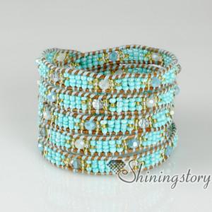 Beş katmanlı boncuklu wrap bilezik moda el yapımı braceletsjewelry Toplu moda mücevher Moda takı hakiki hakiki taş takı