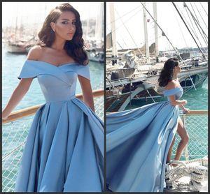 2018 New Modern Árabe Luz Azul Formal Vestidos de Noite 2017 Elegante Off The Shoulders Front Dividir Popular Evening Prom Vestidos 406
