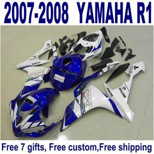 Set di carrozzeria dei prezzi più bassi per Yamaha YZF R1 Fairings 2007 2008 Blue Bianco nero Kit di carenatura in plastica YZF-R1 07 08 ER66