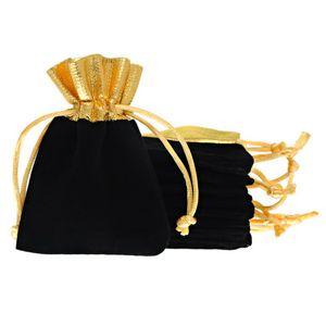 Hot Sale 50Pcs 7x9cm Black Velvet Gold Trim Drawstring Jewelry Gift Bags Pouches HOT, Jewelry Pouches