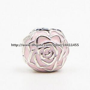 Haute qualité authentique S925 Sterling Silver Rose Garden Clip Perle Charme avec émail rose s'adapte aux bijoux européens Pandora Bracelets Colliers