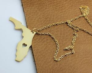Umriss Florida Karte Anhänger Kette Halskette Herz USA FL Staat Halskette I Herz-Liebe Florida Geographie Karte Halskette