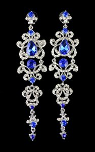 European style silver plated alloy crystal rhinestone dangle earrings