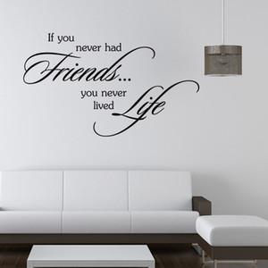 Hiç arkadaş olmadıysa, asla yaşamamışsın İlham Duvar Çıkartmaları Sözler Sticker Sanat duvar resimleri