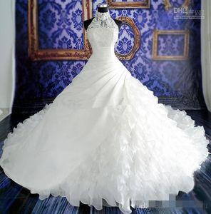 Настоящее фото белое бальное платье свадебные платья оборками аппликация кружева часовня длинный поезд свадебные платья с высоким воротом из органзы Vestido