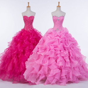 New Ruffled Organza Ball Gown Quinceanera Dress 2016 Sweetheart Crystal Prom Gowns Real Photo Drop Shipping