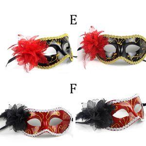 2015 nuovo arrivo donne sexy hallowmas maschera veneziana maschere mascherata con fiore maschera di piume maschera festa da ballo
