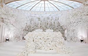 Nuevo White wedding props Flor de la carretera etapa fondo decoración flor Blanco artificial ginkgo biloba hojas blancas