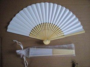 El envío libre, Saling caliente 100 PC / porción blanca plegable de papel elegante ventilador de la mano con la bolsa de regalo weddingparty favores de 21cm