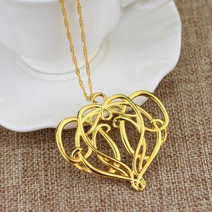 قلادة الهوبيت The Elves Elrond King Gold Crown Hollow Heart Necklace Jewelry