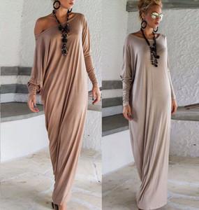 2016 Pas Cher Nouveau Printemps Automne Femmes Maxi Robes Manches Longues Irrégulier Plus La Taille Oversize Loose Wrap Dress Dames Casual Dress OXL15092107