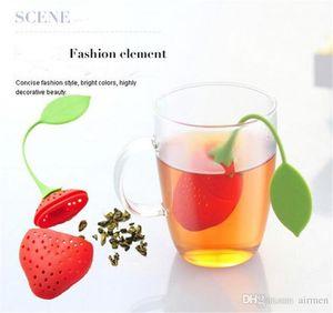 Erdbeerform Silicon Tea Infuser Sieb Silicon Tea Füllbeutel Ball Dipper Tea Tools Cup Hanger 50pcs