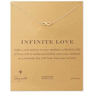 Бесконечность Любовь Кулон Ожерелье Золото Серебро Счастливое Число 8 Подвески С Подарочной Карты День Святого Валентина Подарки