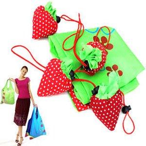 desenhos animados ambiental sacos de compras sacolas promocionais dobráveis sacos de armazenamento de morango dobrar presente da promoção criativa