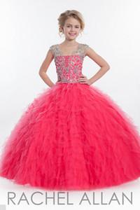 2018 Robe De Bal Pas Cher Grandes Filles Pageant Robes Volants Bijou Perlé Populaire Robe De Bal Quinceanera Fleur Filles Robes