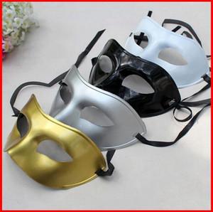 뜨거운 판매 실버 골드 화이트 블랙 맨 절반 얼굴 Archaistic 골동품 클래식 남자 마스크 마디 그라 Masquerade Venetian Costume Party Masks 50pcs