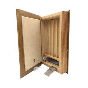 COHIBA Brown Leather Book Style Cedar Подкладка сигары держатель сигареты Хьюмидор с Cutter Сигарные шкафы для сигар
