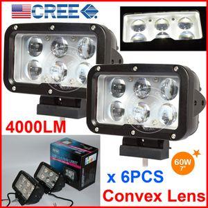 "6PCS 7"" 60W CREE 6LED * 10W Sürüş İş Işık Dikdörtgen Offroad SUV ATV 4WD 4x4 Nokta Işın 9-60V 6000lm Oto Kamyon Forklift ile Konveks Lens"