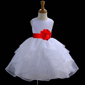 White Flower Girl Dress Cravate Sash Pageant De Mariage Recital Enfants Tulle Demoiselle D'honneur Enfant En Bas Âge De Pâques De Noël Halloween Robe