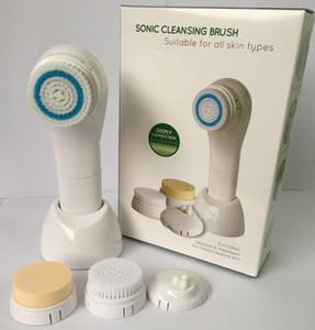 100pcs / lot Sonic Brosse de nettoyage 5 en 1 électrique Brosse visage Lumineuse Thérapie Système de Soins de la Peau Soins du Visage Masseur Imperméable À L'eau