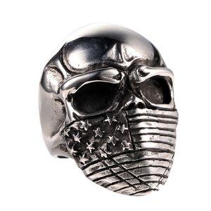 Kostenloser Versand! Amerikanische Flagge Skull Biker Ring Edelstahl Schmuck Gothic Infidel Schädel Motor Biker Männer Ring