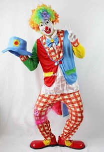 Cosplay costume de clown adulte, vêtements de clown, manteau, pantalons, masque, perruque, gant, noeud papillon, chapeau, chaussures