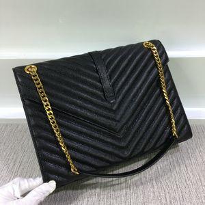 Marca las mujeres reales de cuero de alta calidad de los bolsos 396910 cadenas de oro totalizadores Bolsas de hombro envío del V XJ # Y6 cuerpo de la cruz de 31 cm
