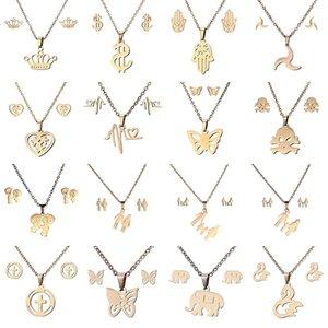 16 стилей из нержавеющей стали 316L Ювелирные наборы Корона Череп бабочка Слон Сердце ожерелье Серьги Набор Для женщин Ювелирные Изделия