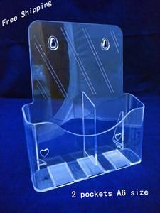 Brochure opuscoli trasparenti A6 a due tasche Brochure Letteratura Supporto per espositori in plastica acrilica per inserire depliant su desktop 2 pezzi Spedizione gratuita