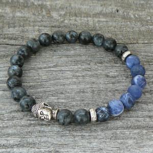 SN0238 Будда браслет мужские или женские стрейч браслет натуральный камень Браслет серый Ларвикит Braizl голубой полосой камень Браслет