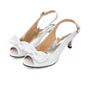 Sexy Knöchel Wrap Frauen Sandalen Sommer Damen Offene spitze Med Ferse Bogen Schuhe Mädchen Elegante Weibliche Candy Farbe Leder Sanadal balck / weiß / gelb