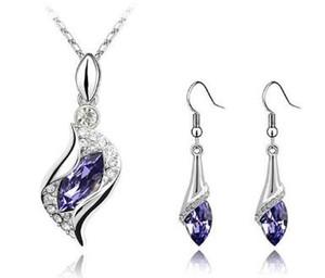 Hign qualité et prix bas! Collier et boucles d'oreilles avec pendentif en cristal, strass, noble et délicat