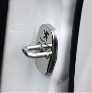 4pcs / set puerta de bloqueo de la puerta Decoración de protección de acero inoxidable caso de la cubierta de bloqueo para Peugeot 308 3008 408 508 accesorios C4L