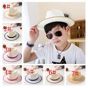 2015 New Children Straw Cowboy Jazz Visor Hats Kids Summer Beach Casual Sun Caps For Girls Boys 7 Color 10pcs lot