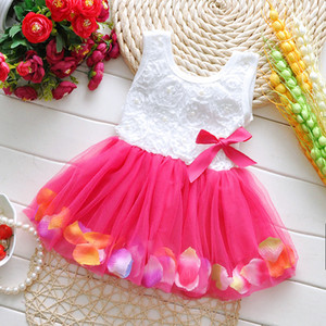 Summer Toddler Girls Dress Rose Flower Pétalos coloridos Gauze Baby Tutu Vestidos Sin mangas Niños Chalec Princess Vestido 2015 disfraces