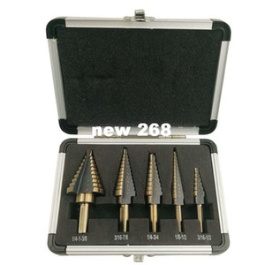 5pcs / Set HSS COBALT HOLE MULTIPLE HOLE 50 مقاس STEP DRILL BIT SET خشب / ألومنيوم حالة شحن مجاني!