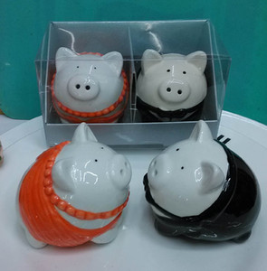 Wedding Gifts for Guest Pig Bride and Groom Salt & Pepper Shakers for Wedding Event Souvenirs (2PCS for 1SET )