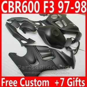 Novo kit de carenagem Motocicleta Fosco preto para Honda CBR 600 F3 CBR600F3 1997 1998 peças de Carenagem de Alta Qualidade CBR600 F3 95 96 DKA6
