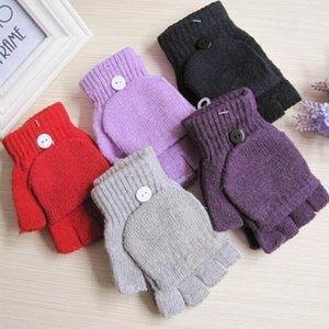 Wholesale-Fashion Soft Thermal Unisex Fingerless Gloves Winter Warm Half Finger Flip Knitted Mittens