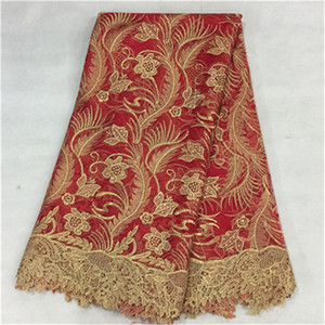 Fashionable red flower design african lace fabric with beads french net lace cloth for party dress BN17-7,5yards pc