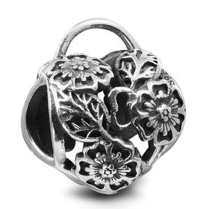 Çiçek Kalp Asma Kilit 100% 925 Ayar Gümüş Boncuk Fit Pandora Charms Bilezik Otantik DIY Moda Takı