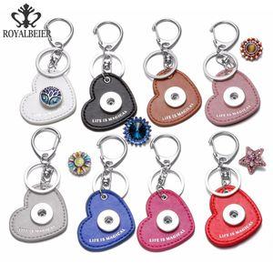 Mode Noosa Coeur Forme PU En Cuir Porte-clés Snaps Bijoux Fit 18 MM Snap Boutons 8 Couleurs Snap Porte-clés Porte-clés