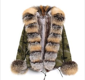 Doublure en fourrure brune avec doublure en fausse fourrure camouflage et renfort en fausse fourrure de marque Fox
