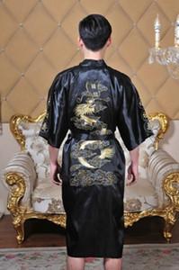 Traje de baño de los hombres chinos de la historia de Shanghai Kimono bordado Bata de dragón ropa de dormir para hombres 5 colores Tamaño M --XXXL