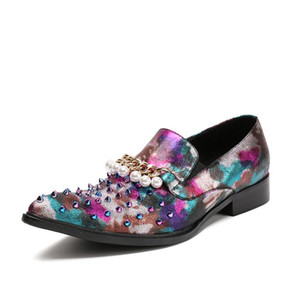 2017 новый стиль роскошные заклепки мужчины мокасины натуральная кожа мужчины платье обувь Zapatillas Zapatos Hombre Sapatos Homens Повседневная обувь M393