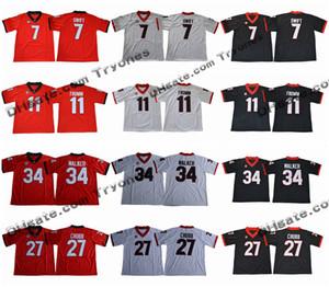 2018 Georgia Bulldogs Escuela de Fútbol jerseys 11 Jake Fromm 7 D'Andre Swift 27 Nick Chubb 34 Herchel Walker Negro cosido jerseys de fútbol