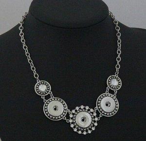 Parti Takı, damla nakliye 6pcs için satış 18MM Snap Düğme Zincir kolye Kadınlar Antik Gümüş Takı üzerinde% 20
