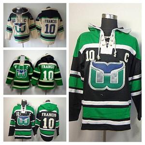 2016 neue, Großhandel 10 Ron Francis Kapuzen männer Schwarz Grün Beige Hartford Whalers Hockey Hoody Eis Francis Pullover Sweatshirt H