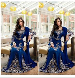 2016 Royal Blue Crystal Musulman Arabe Pageant Robes Applique Dentelle Abaya Dubai Kaftan Long Plus Taille Taille Formelle Fête Chambres de soirée Châle