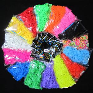 Alta calidad DIY Loom Bands Looms Color Rubber Bands Loom Bracelets (1 bolsa = 600 bandas + 24 clips) como regalo para niños